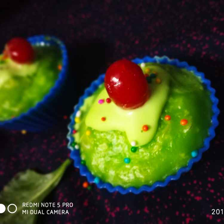 Photo of Spinach cup cake with vanilla frosting  by Divya Konduri at BetterButter