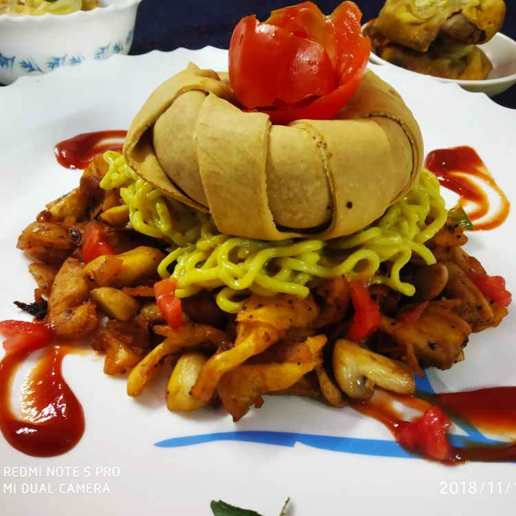 Photo of Soyasausy mushroom salad with masala noodles  in mushroom layerd role in a pouch pack fusion twist by Divya Konduri at BetterButter