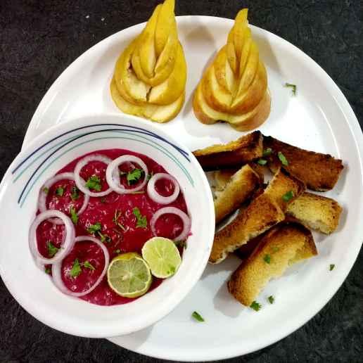 Photo of Beetroot hummis onion dip by Divya Konduri at BetterButter