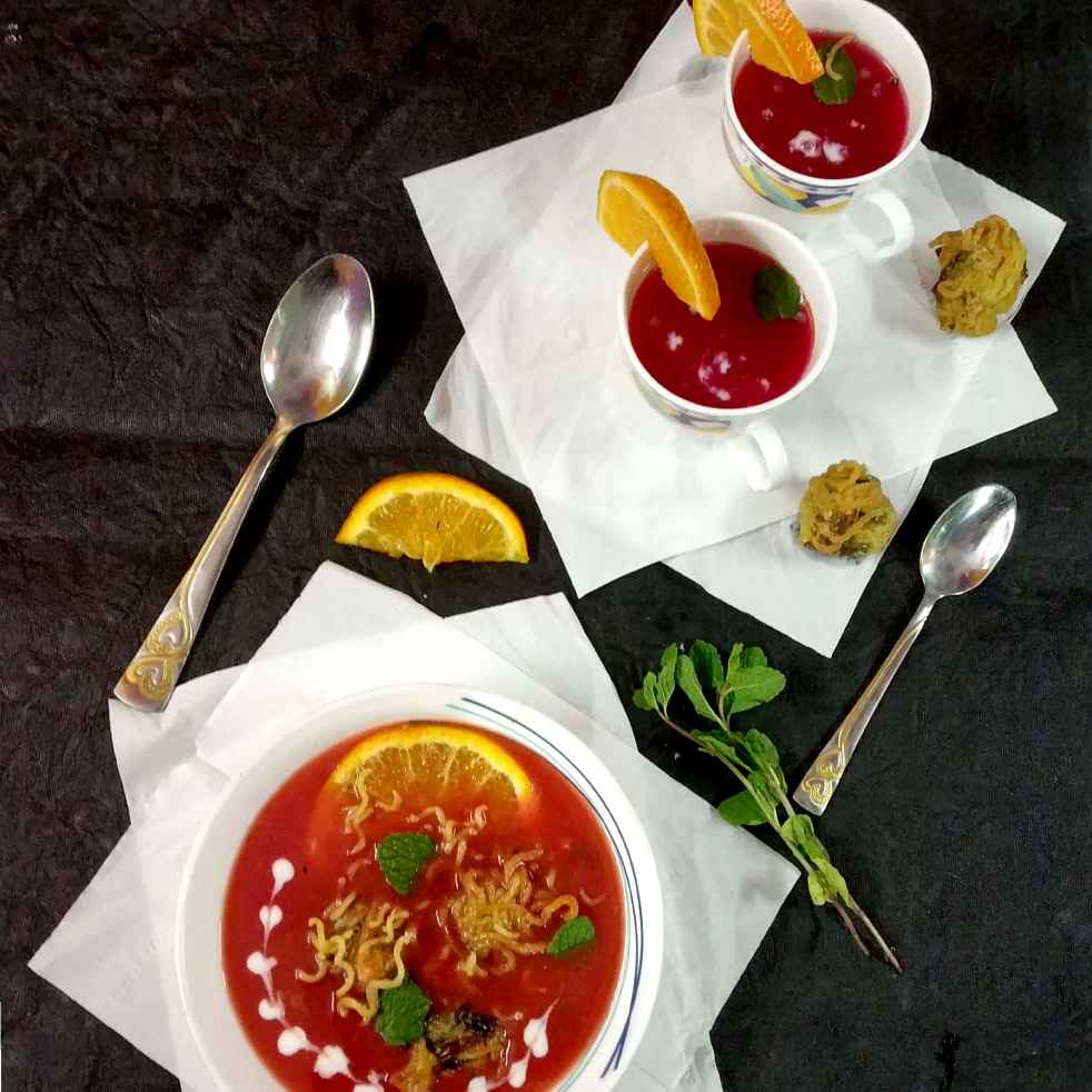 Photo of Veggies soup with veggies maggie dumplings by Divya Konduri at BetterButter