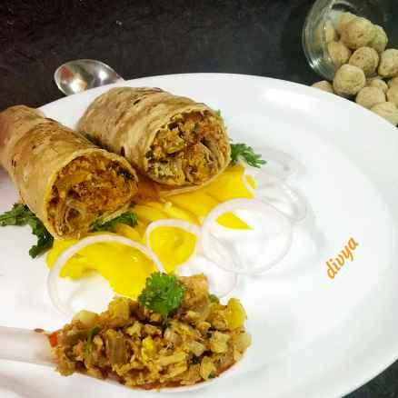 Photo of Whole wheat bajra flore soya chunks curry rolls  by Divya Konduri at BetterButter
