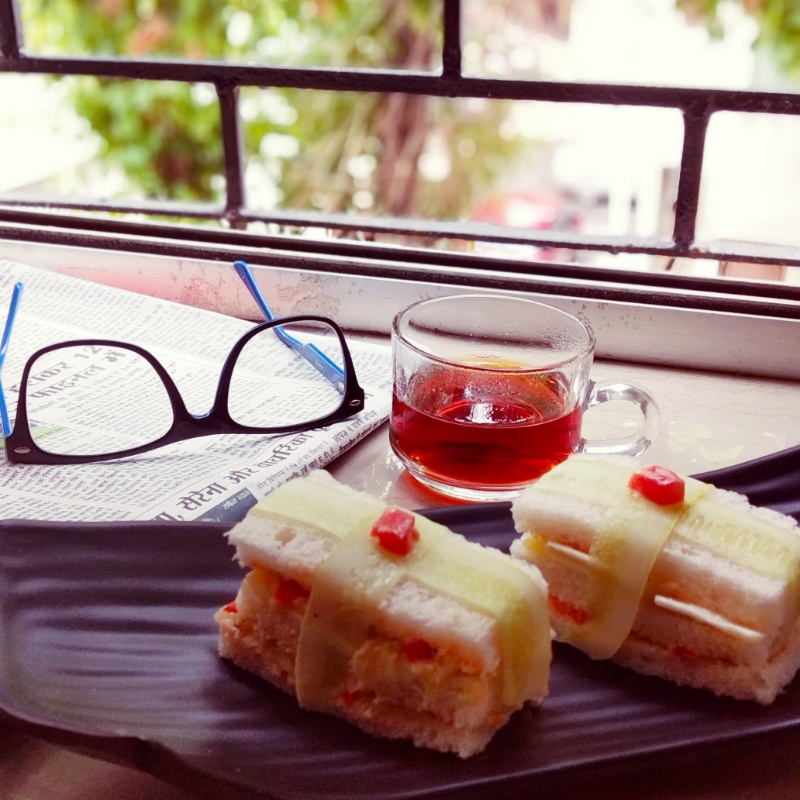 Photo of Kachumber cheese sandwich with ginger tea by Sweta Kapoor at BetterButter