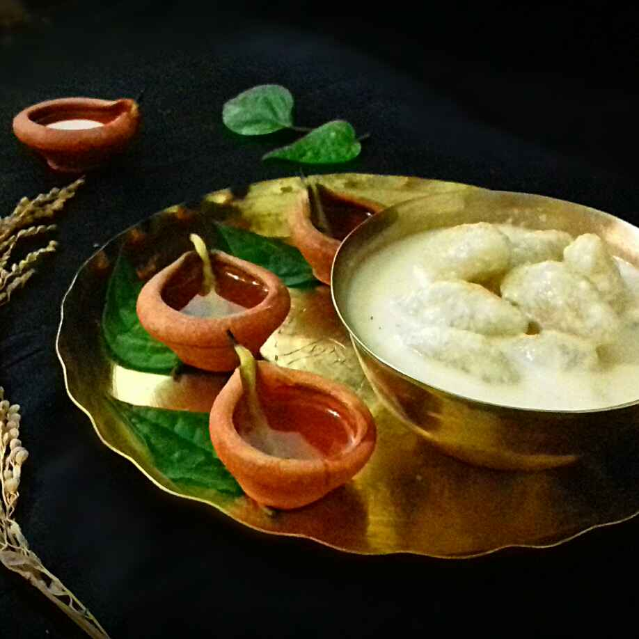 How to make Bengali Doodh Puli (coconut-semolina dumplings in sweet milk)
