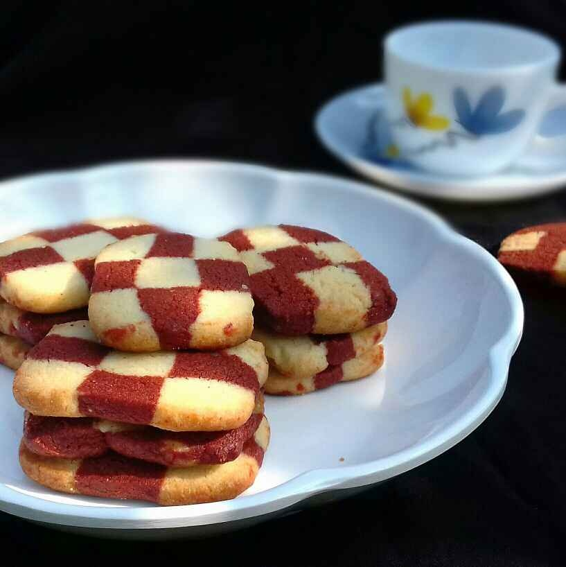 Photo of Red Velvet Checker Board Cookies without eggs by Tamali Rakshit at BetterButter