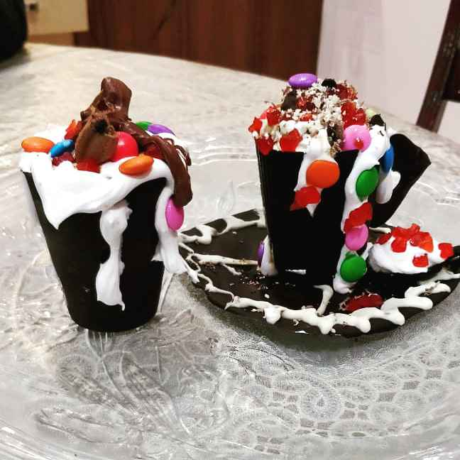 How to make Ice cream xake in choco cup plate and spoon