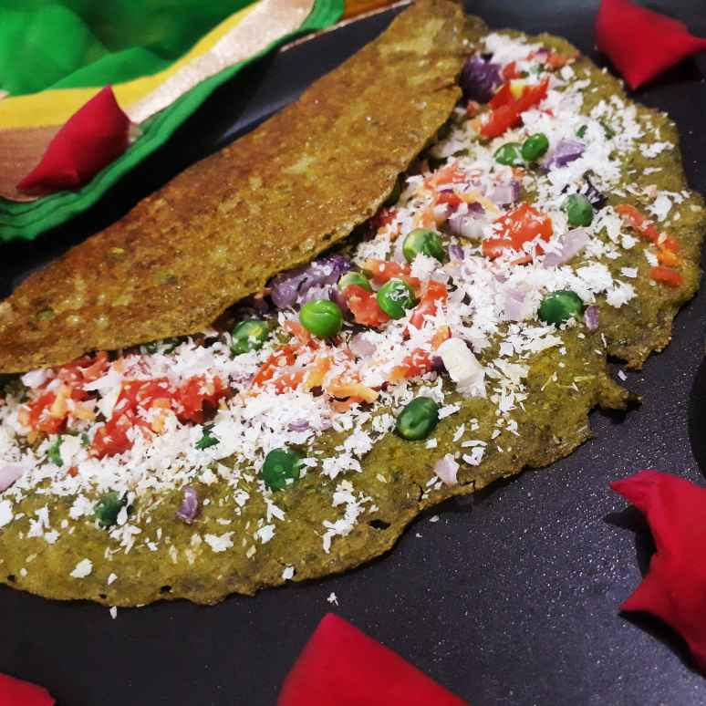 How to make Spinach Cheese dosa