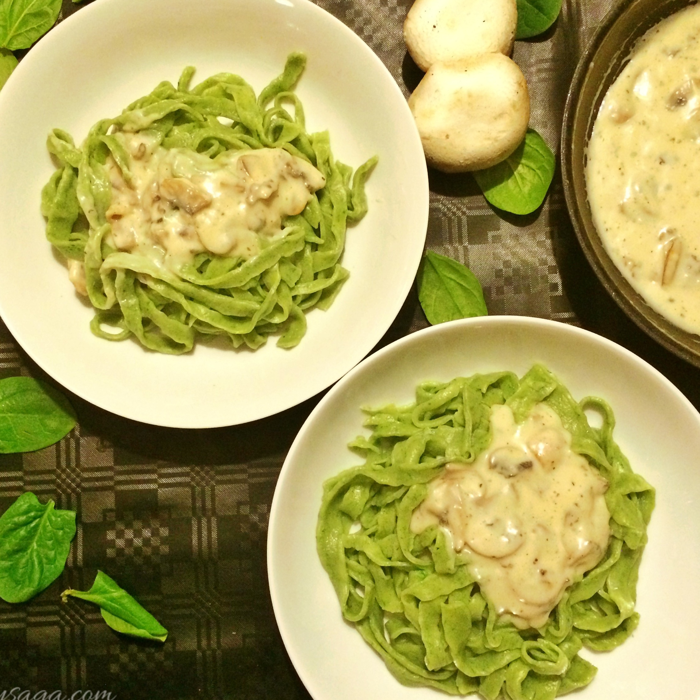 Photo of Homemade Spinach Pasta with Mushroom Sauce by Trupti Kharche at BetterButter