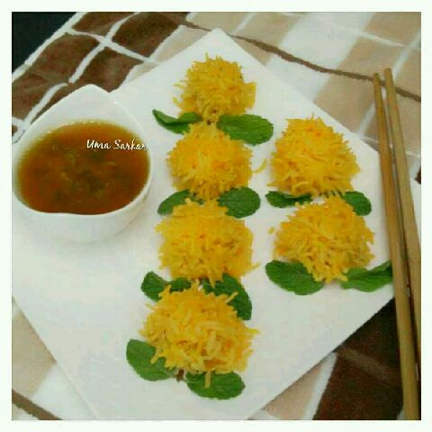 How to make Chicken ball rice flower