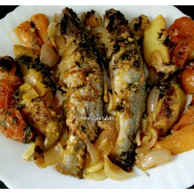 How to make Baked fish with veggies