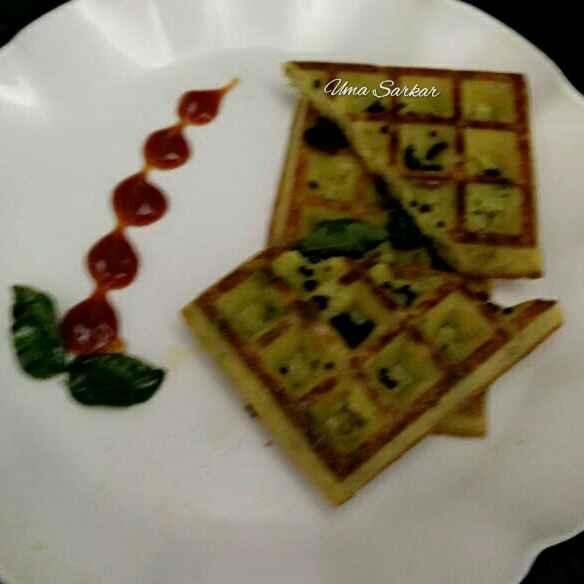 Photo of Egg veggies waffles by Uma Sarkar at BetterButter