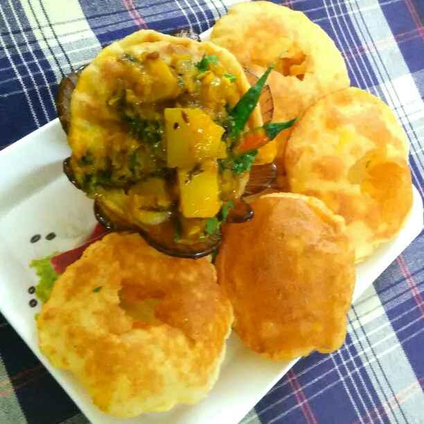 Photo of Club kochouri & pumpkin potato curry by Umasri Bhattacharjee at BetterButter
