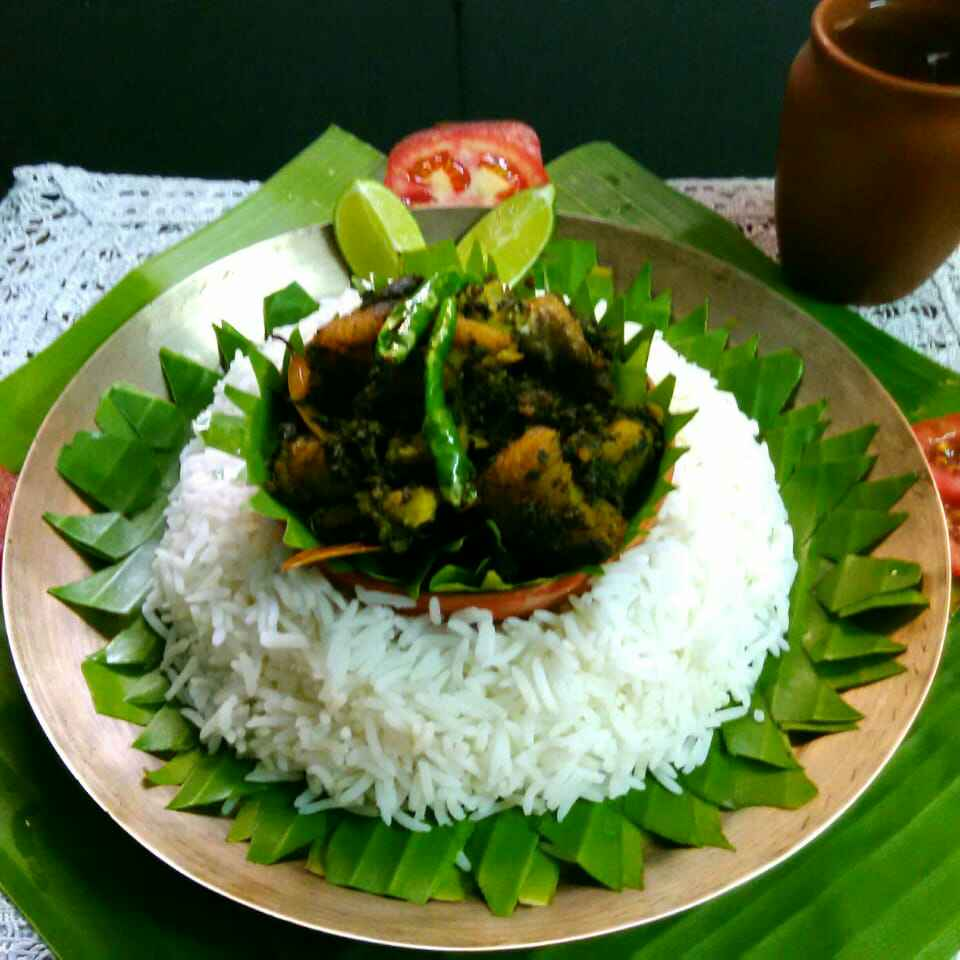 Photo of Green Amaranth fry with rohu fish by Umasri Bhattacharjee at BetterButter
