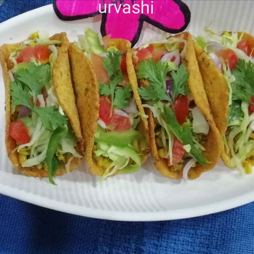 Photo of Maize flour tacos with moong sprouts by Urvashi Belani at BetterButter