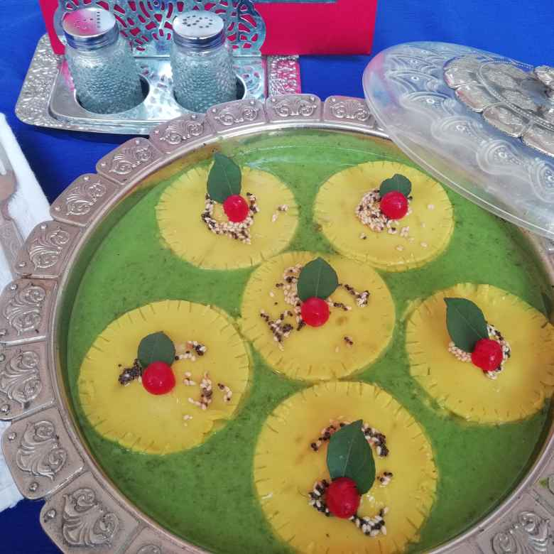 Photo of Stuffed Khandvi ravioli with spinich kari by Urvashi Belani at BetterButter