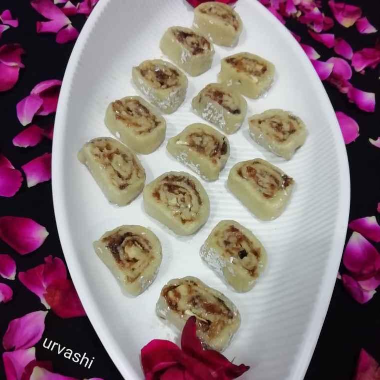 Photo of Cashewnut Gulkand Roll by Urvashi Belani at BetterButter
