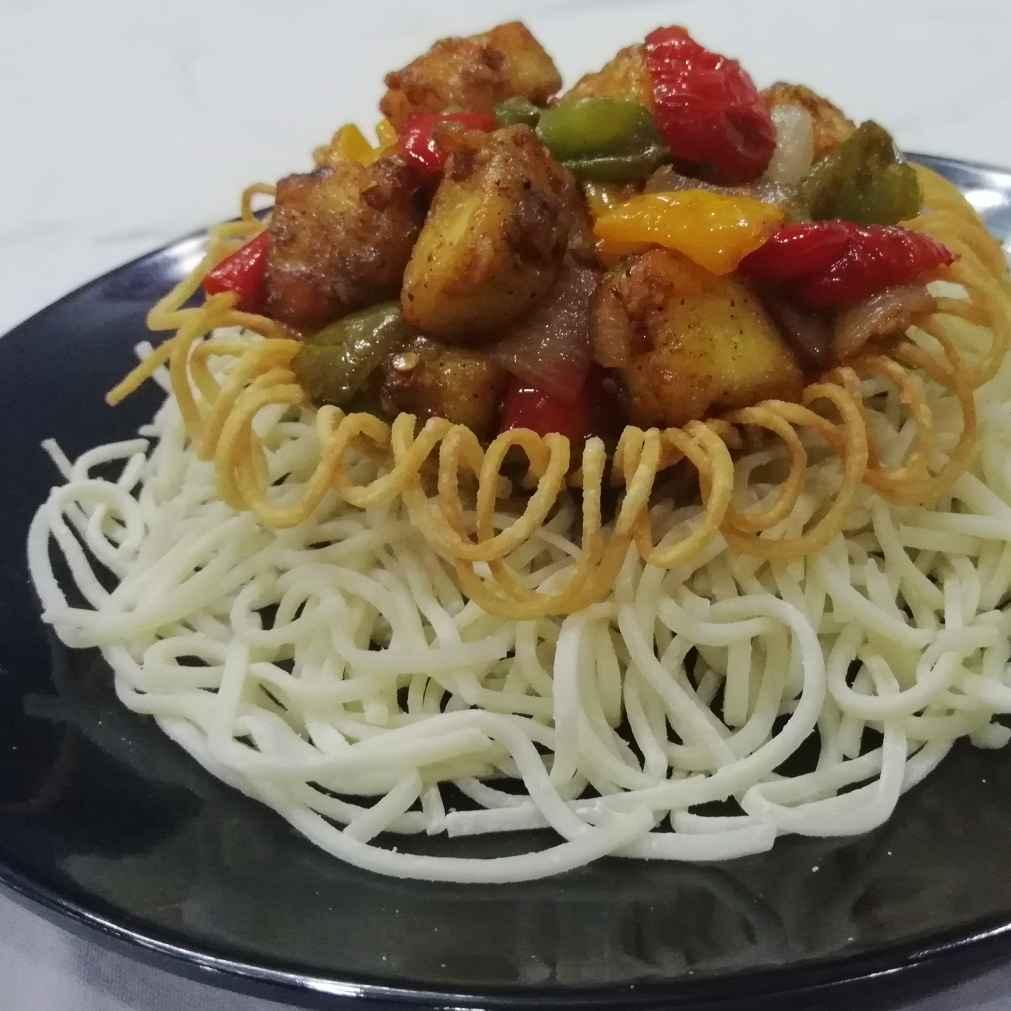 Photo of Chilli panner in noodles basket by Urvashi Belani at BetterButter