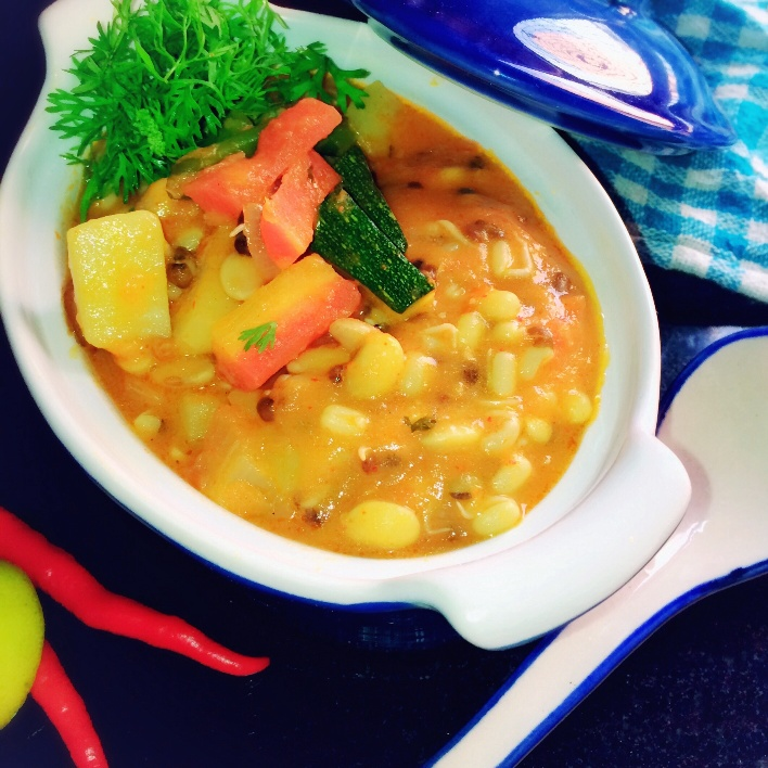 How to make Sprouted soya grains and vegetable soup