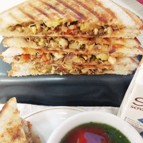 Photo of No cheese no oil(sprout sandwich) by uzma shouab at BetterButter