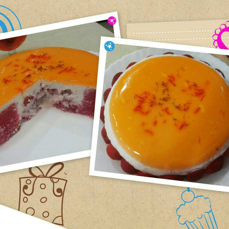 How to make Flatened rice cream filled pink cake saffron jelly