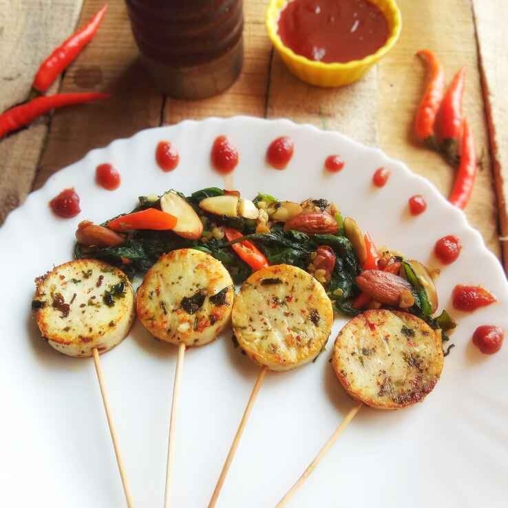 How to make Herbed Paneer Lollipop with stir Spinach