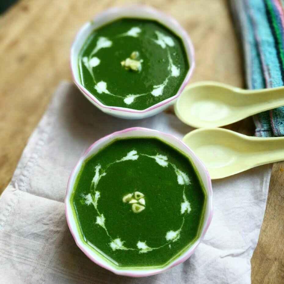 How to make हरे लहसुन और पालक का सूप