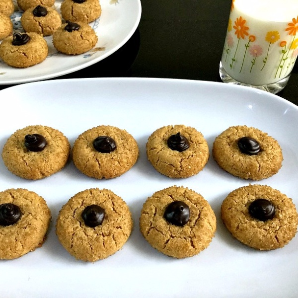 Photo of Eggless Peanut Butter Kiss Cookies (with whole wheat) by Vanitha Bhat at BetterButter