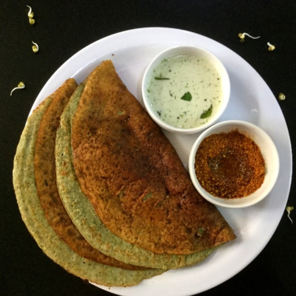 How to make Sprouted Green Gram Dosa