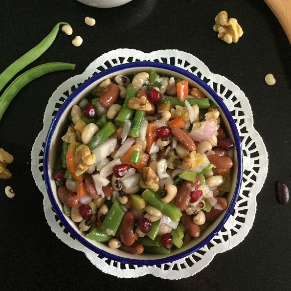 How to make Zesty Three Bean Salad with Walnuts and Pomegranate