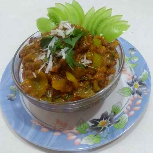 Photo of Green Tomato sabji . by Varsha Deshpande at BetterButter