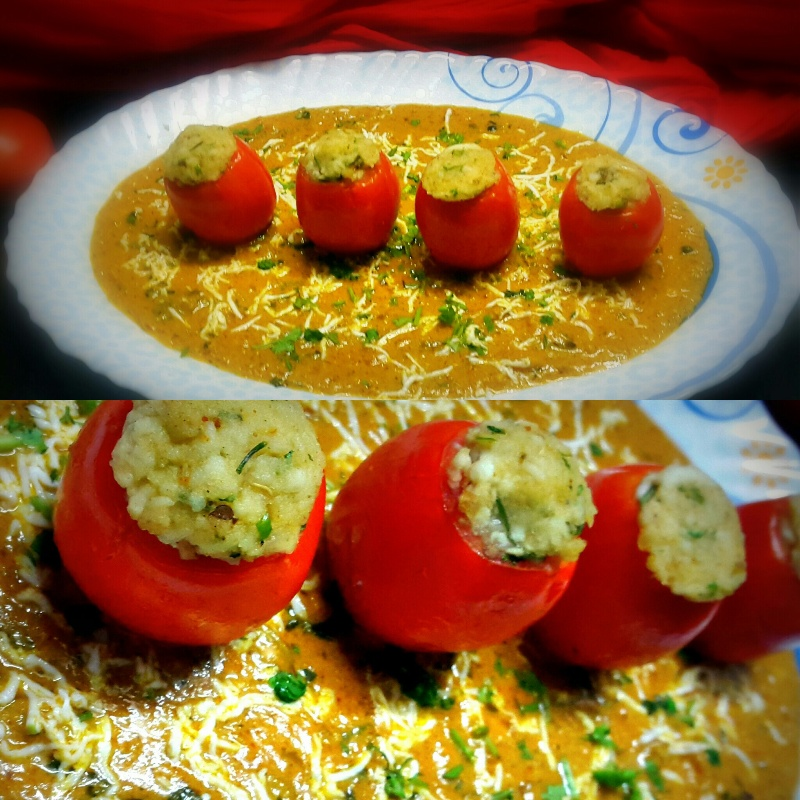 Photo of Delicious Stuffed Tomatoes With Nutty Gravy by Vibha Bhutada at BetterButter