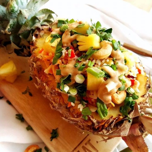 Photo of Thai Pineapple Coconut Cashew Rice With Ginger Peanut Sauce (Satay Sauce) by Vibha Bhutada at BetterButter