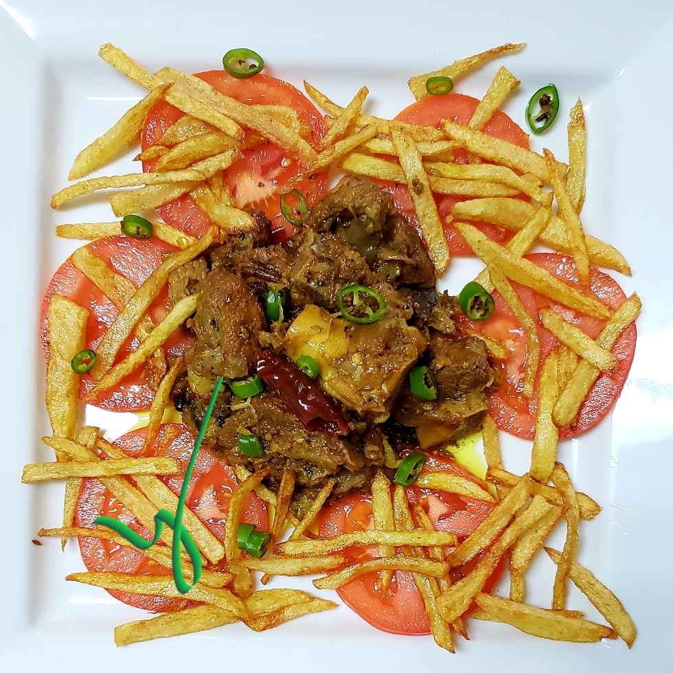 How to make Spicy mutton with fries