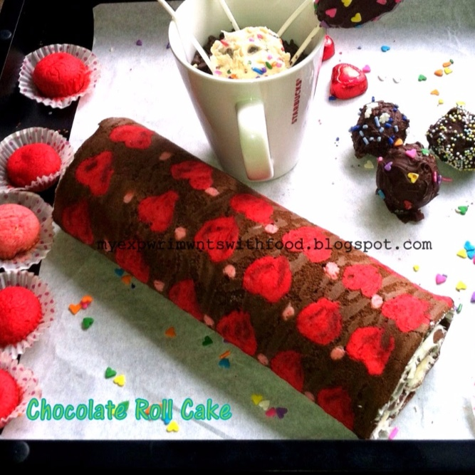 How to make Chocolate Roll Cake with Cute Little Hearts and Polka Dots
