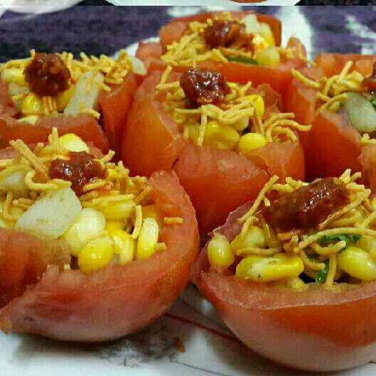 How to make Corn Chaat In Tomato Bowls