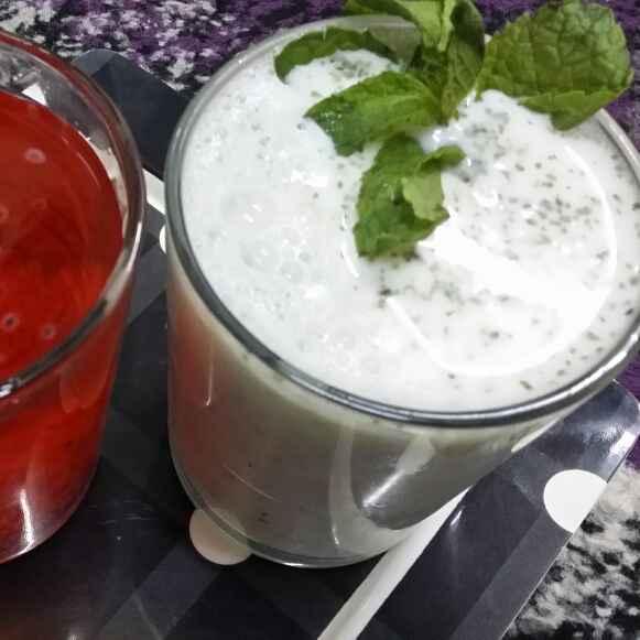 Photo of Yogurt Mint Lassi By Z and Rose Basil Lemonade by Zeenath Muhammad Amaanullah at BetterButter