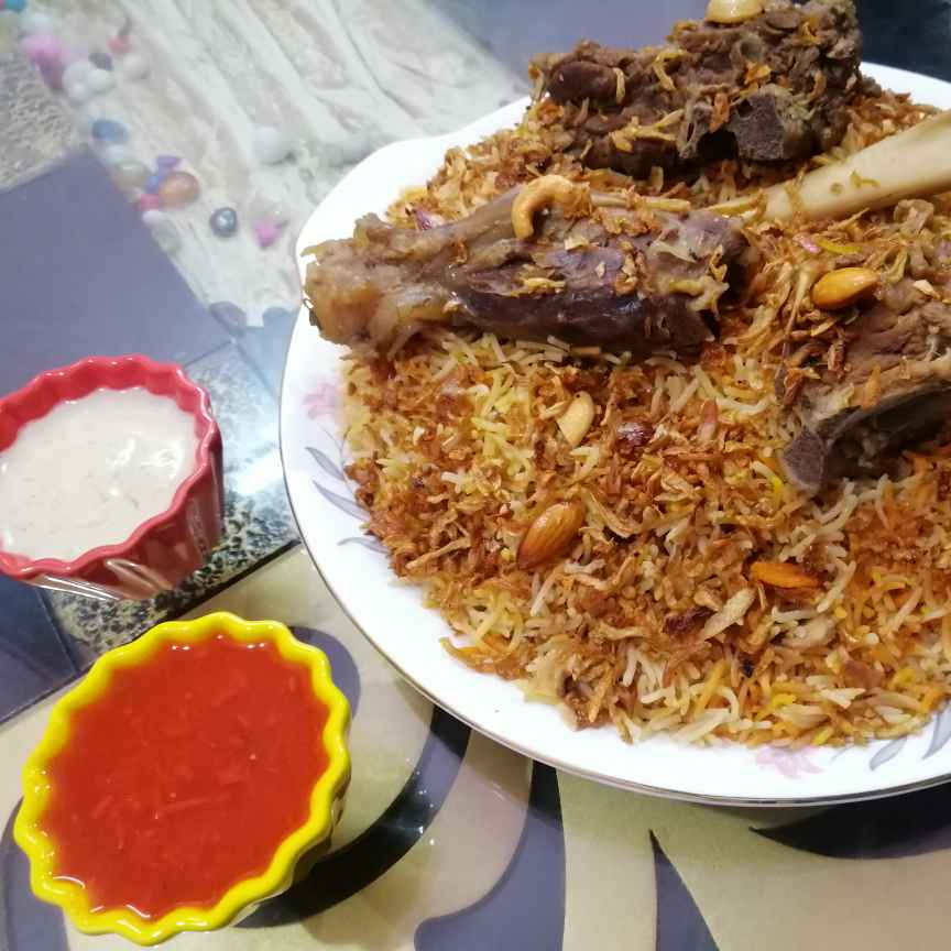 How to make Leham Mandi (Goat meat with smoked rice)