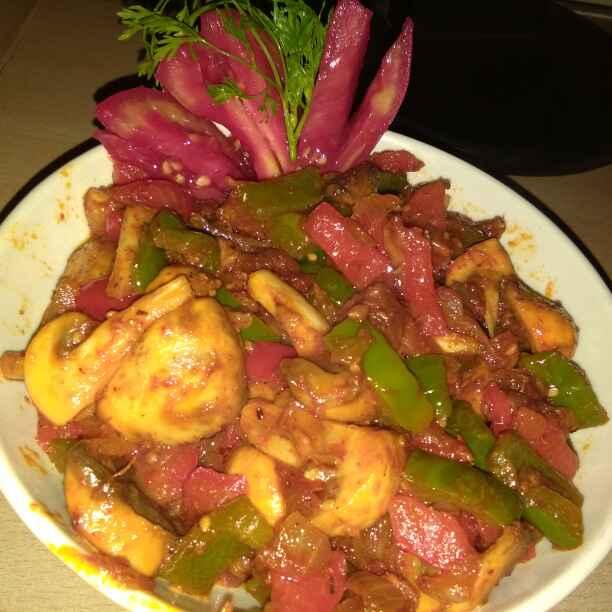 How to make Jhatpat 5min mushroom red & green capsicum sabzi