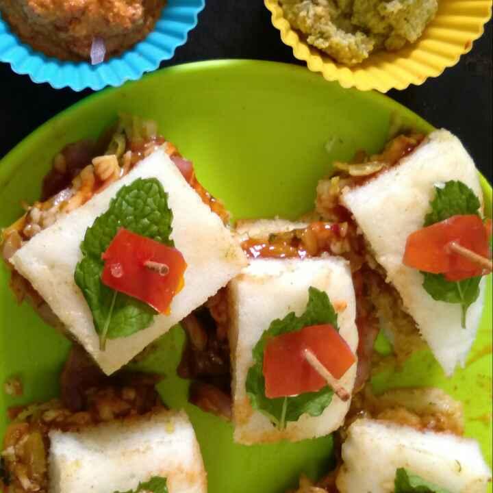 Photo of Thatte idli veggie and cheese stuffed mini sandwiches by Zulekha Bose at BetterButter