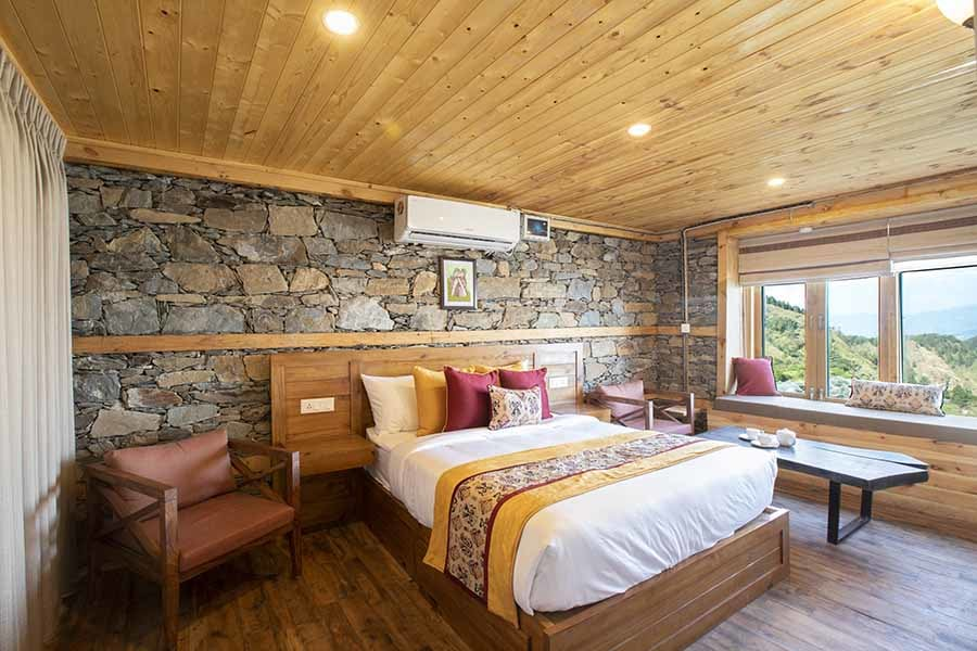 Stone walls, wooden flooring and roof