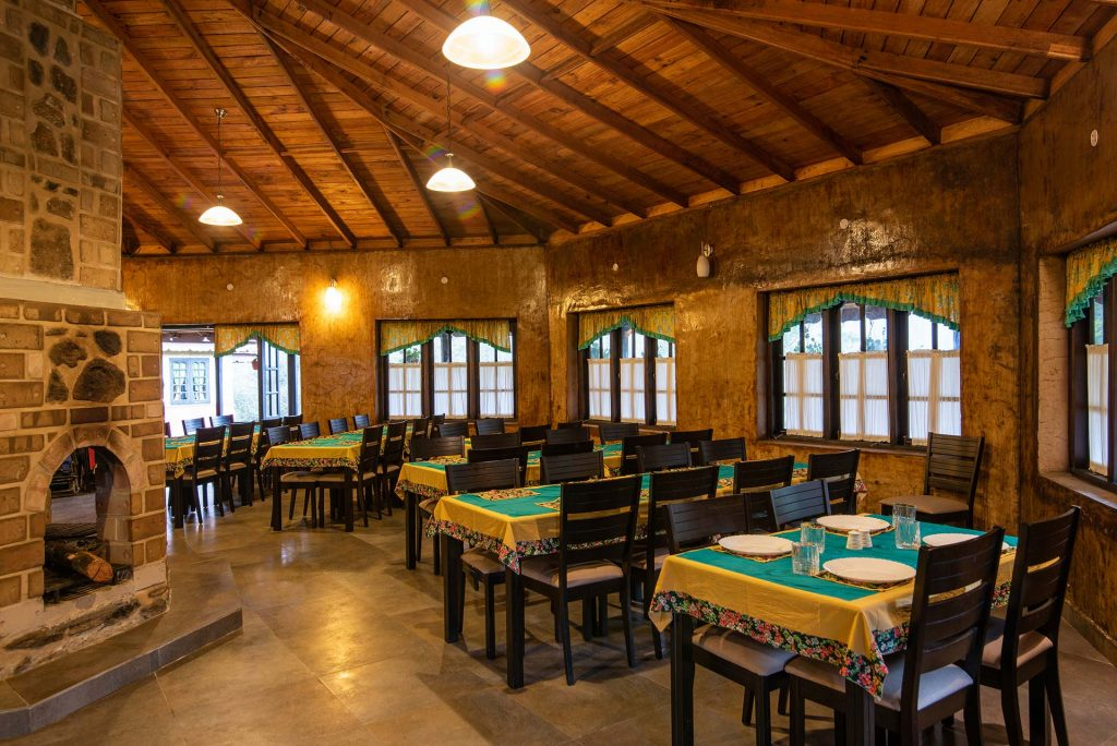 dining area that serves organic food, rustic charm, perfect holiday destination for 2020