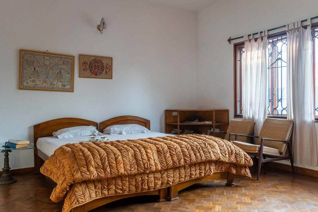 Cozy bedroom in villa for Christmas, double bed and modern furnishing