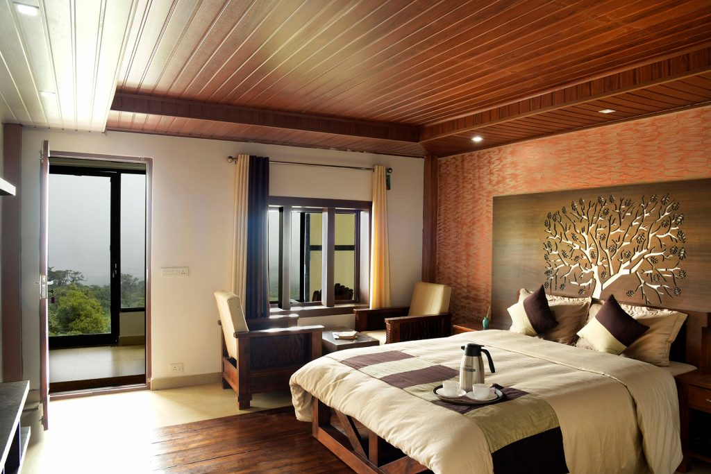 Modern decor and furnishings in bedroom of villa