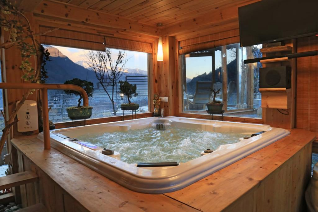 Indoor Jacuzzi in holiday villa