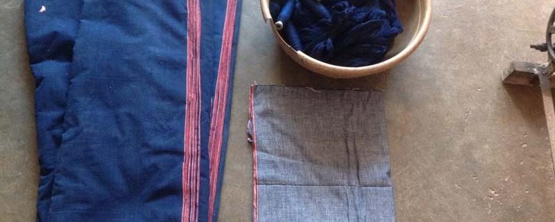 Natural indigo dyed Hand spun Yarn _ Khadi Fabric
