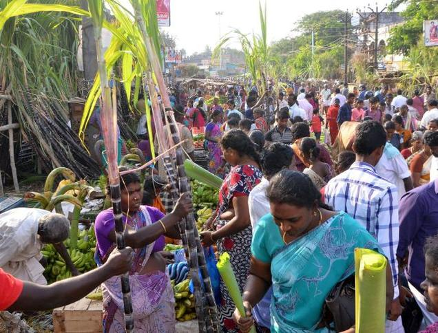 A busy market ahead of Pongal in in Ramanathapuram