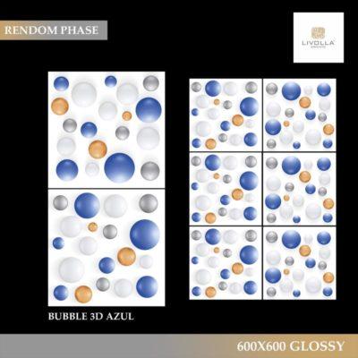 600x600 Glossy BUBBLE 3D AZUL