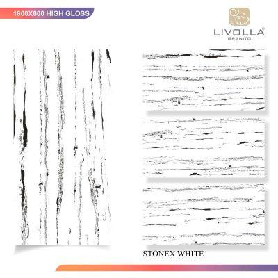 800x1600 High Glossy STONEX WHITE