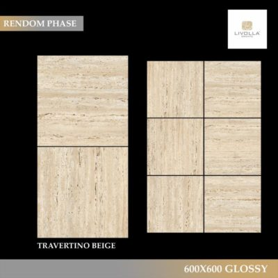 600x600 Glossy TRAVERTINO BEIGE