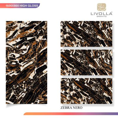 800x1600 High Glossy ZEBRA NERO