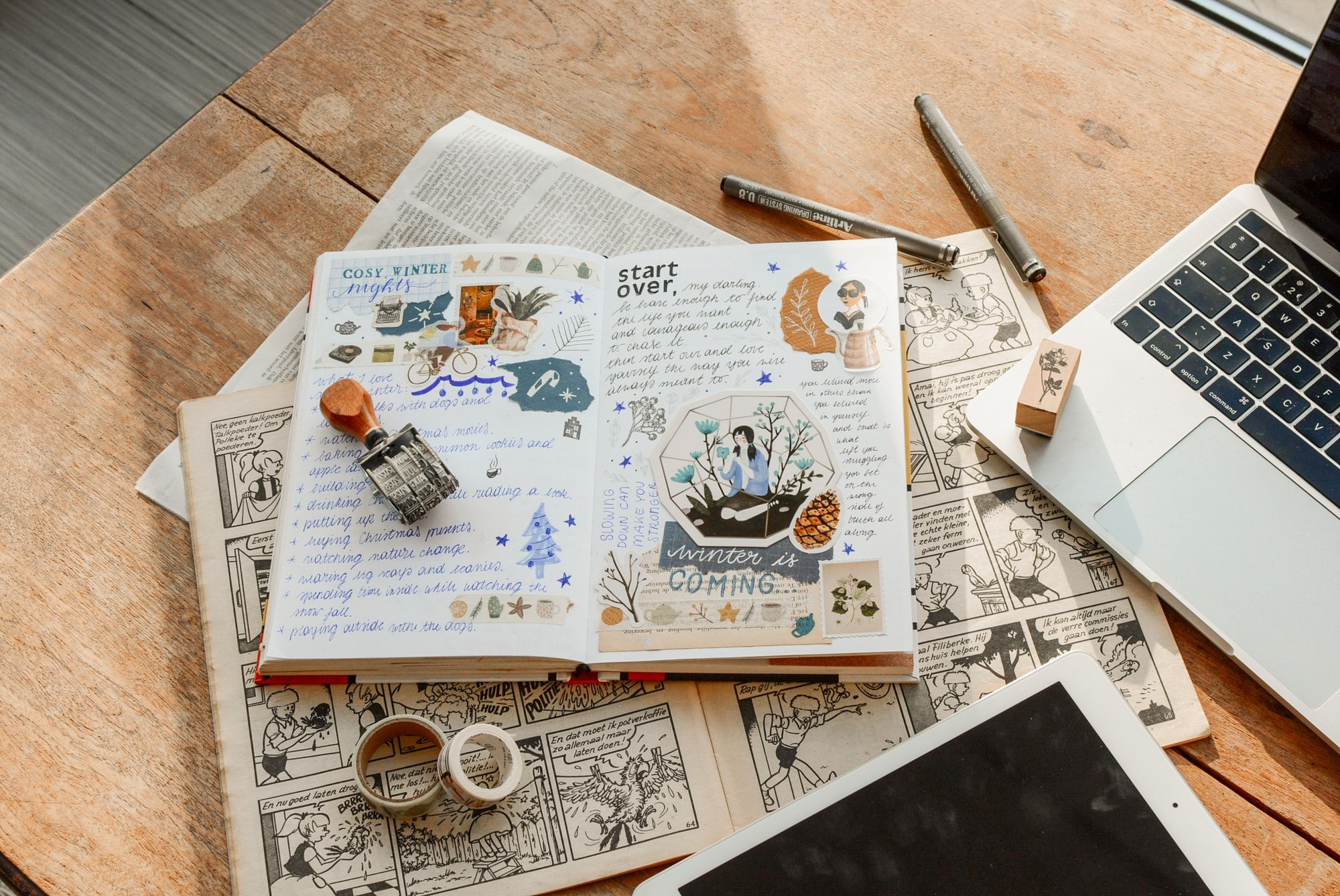 diary with decorated text and visual images